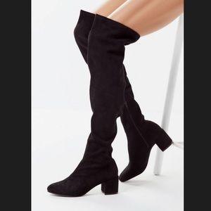 Madewell Suede Over the Knee Black Heel